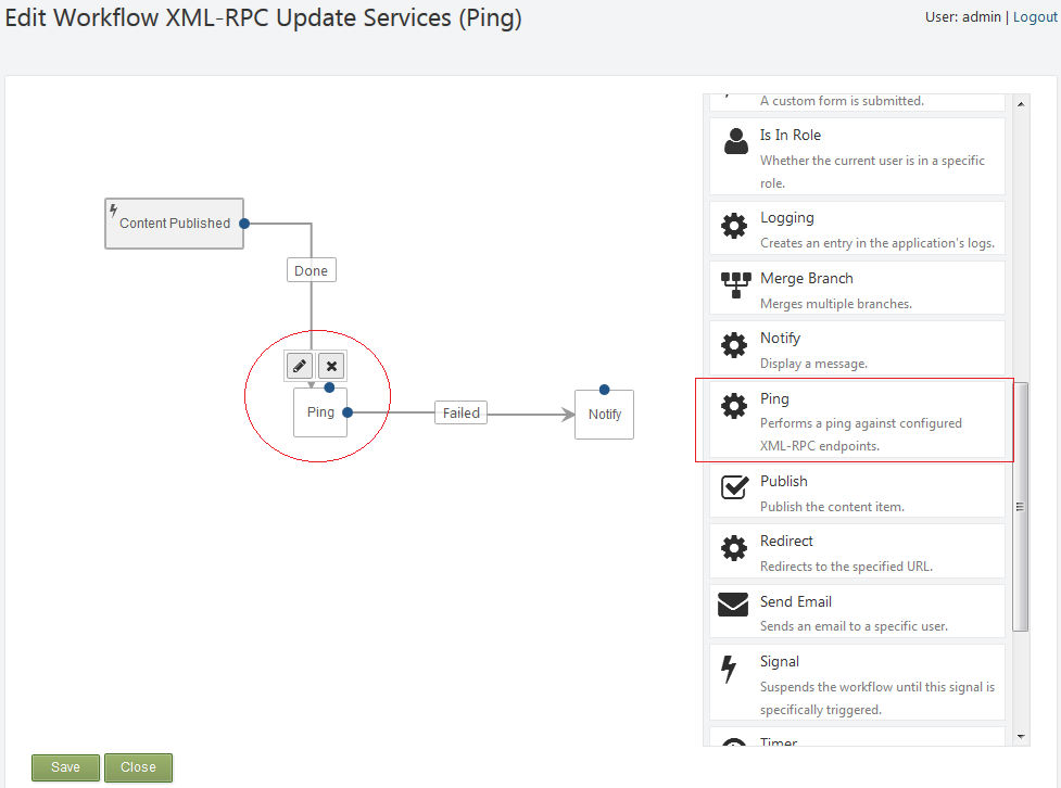Orchard Gallery - XML-RPC Workflow Activity (Ping)
